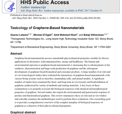 """""""These results show that Graphene Oxide induces severe pulmonary thromboembolism """""""