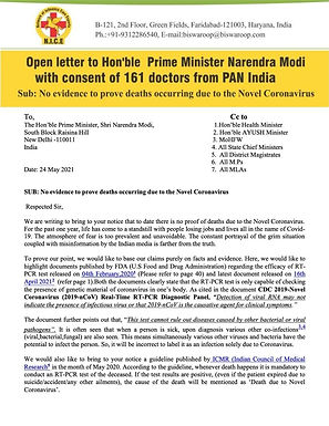 Open letter to Hon'ble Prime Minister Narendra Modi with consent of 161 doctors from PAN India
