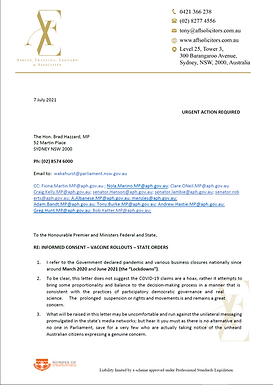 Letter from Leading Sydney Law Firm to NSW Health Minister, cc to State and Federal MPs and Senators