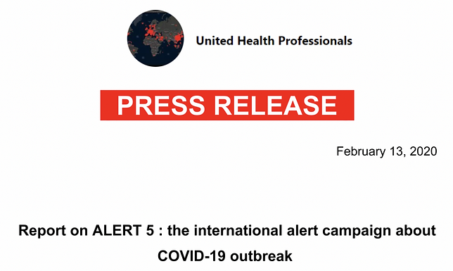 International Alert Message about COVID-19. United Health Professionals