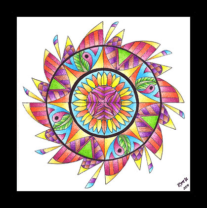 """""""Day Flower"""" full-color print; matted"""