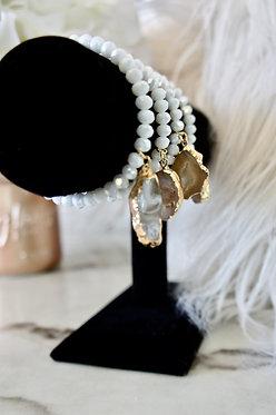 White Druzy - Gold