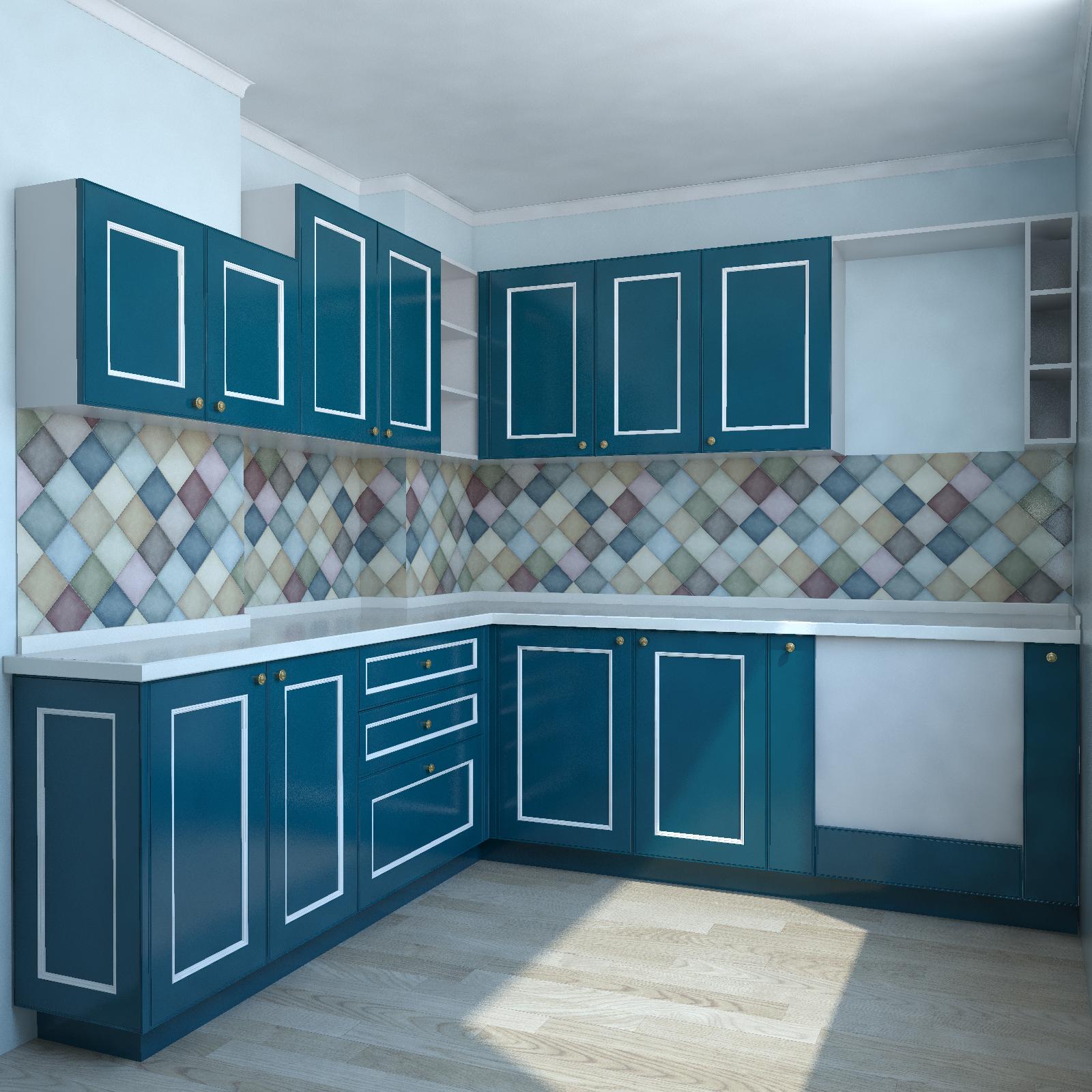 кухня в стиле прованс синего цвета