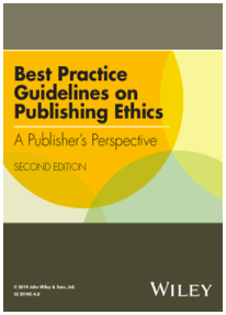"Wiley publica ""Best practice guidelines on publishing ethics: A publisher's perspective. Second edit"