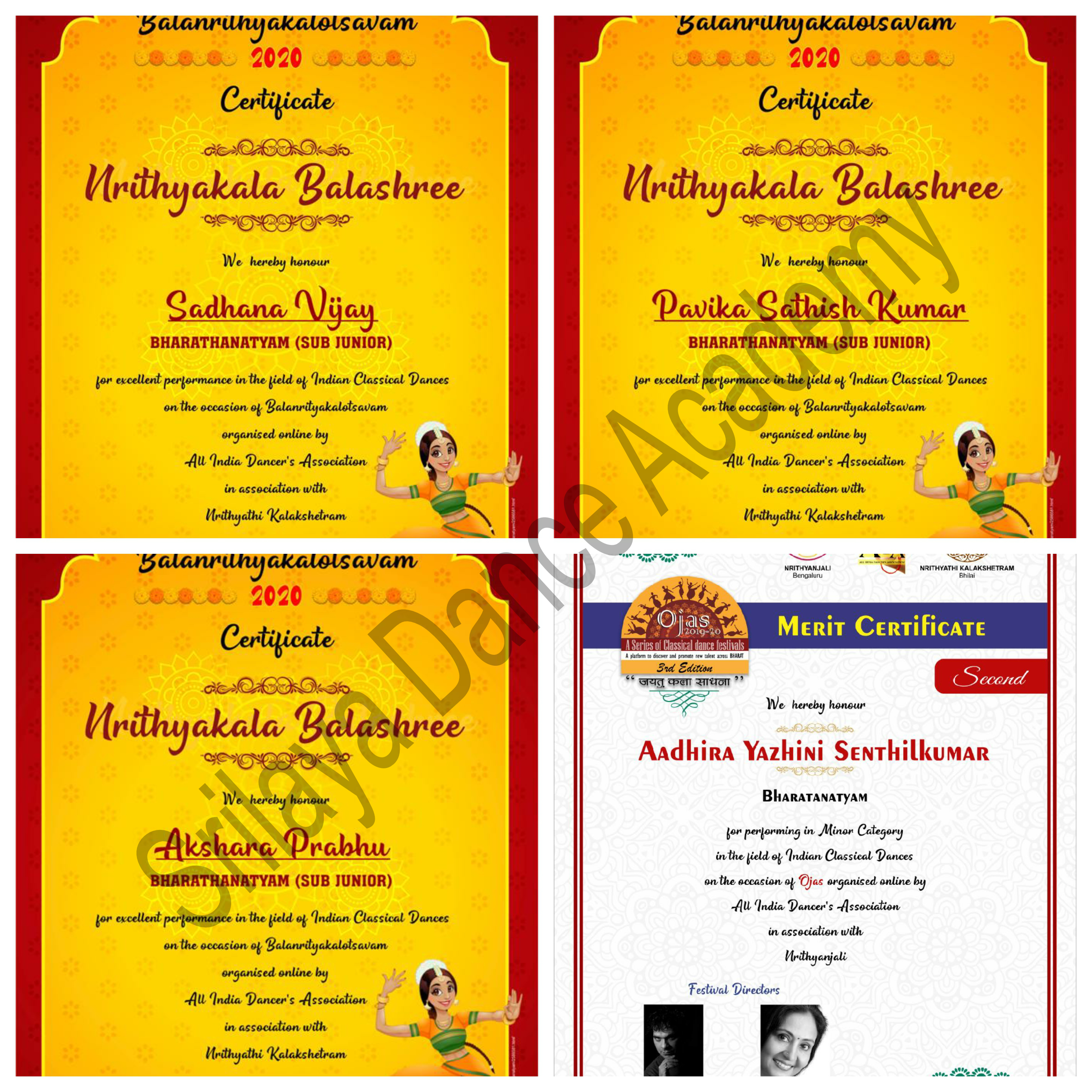 Titles won by Srilaya Students in 2020