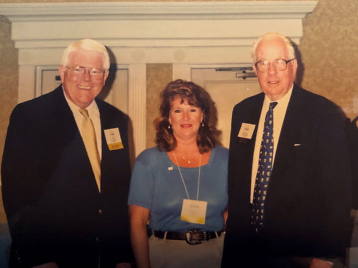 Gloria Freeman is flanked by then-SCMA President & CEO Dr. Jim Morris and Milliken & Co. CEO Roger Milliken during Annual Meeting at The Cloister in Sea Island, Ga.