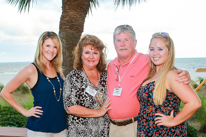 Gloria and Harry Freeman with their daughter Lindsey (L) and her friend Mattie Wilkson at the 2016 Fiber Buyers/STA Joint Annual Meeting at Myrtle Beach, S.C.