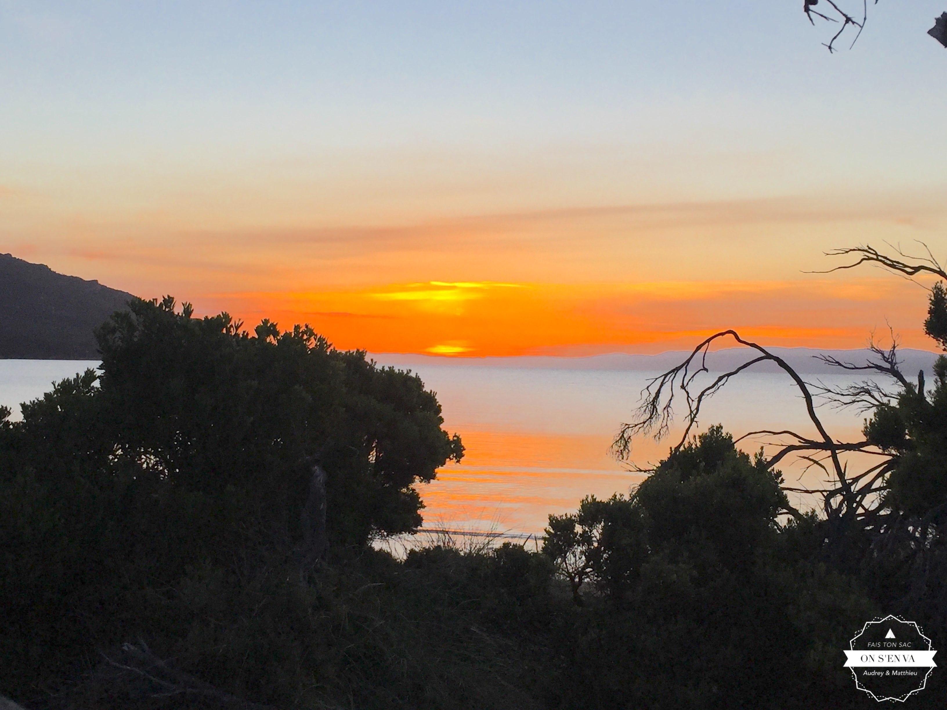 Coucher de soleil sur Freycinet NP