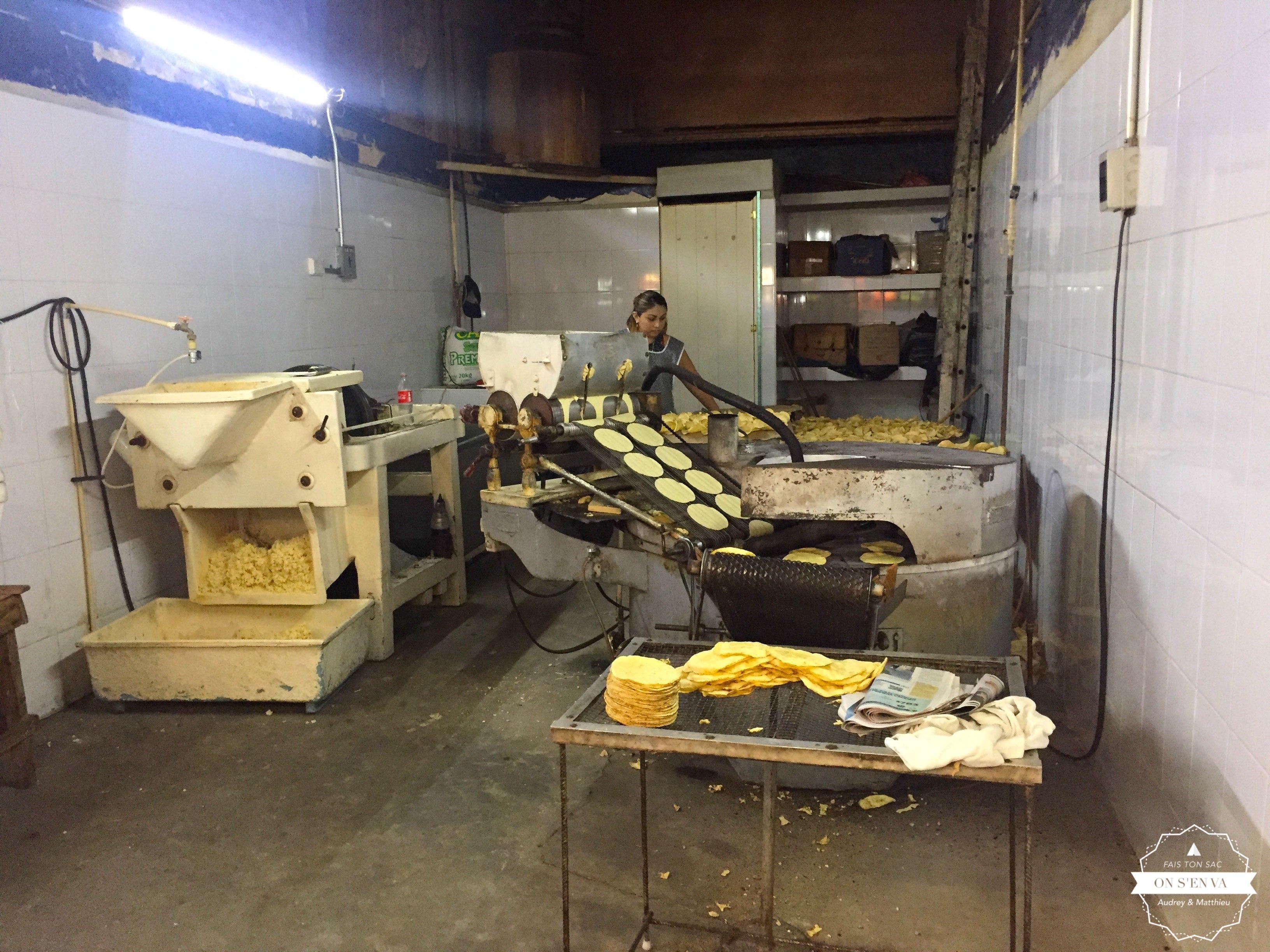 Fabrique de tortillas de maïs