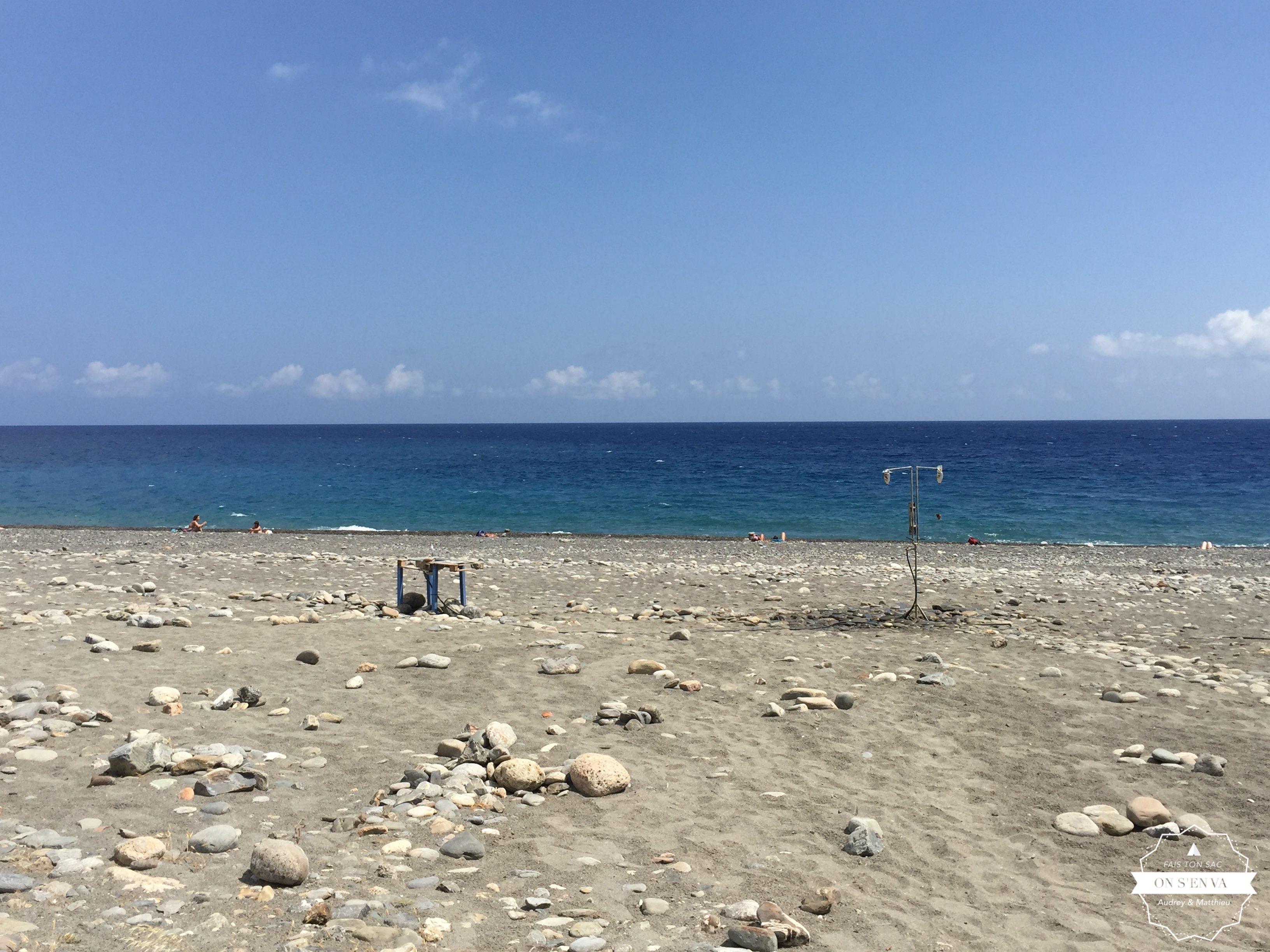 Douche sur la plage, Sougia