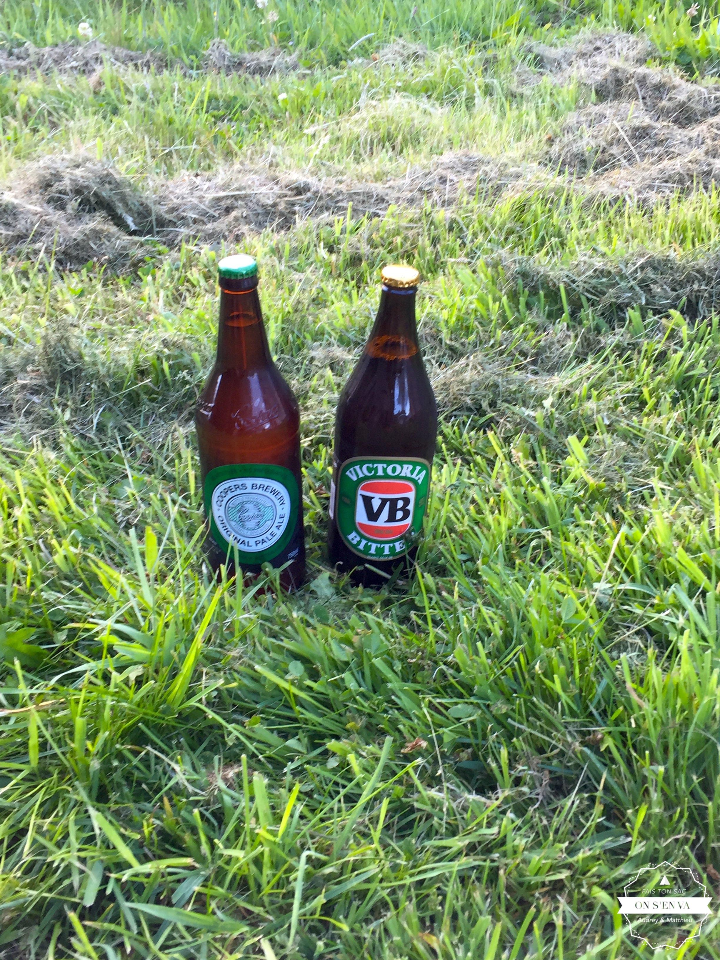 Premières bières en Tasmanie!