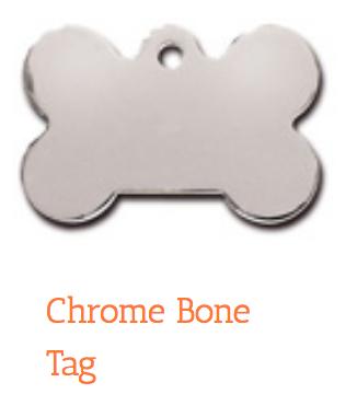 Polished Chrome, Bone, Large, ID Tag
