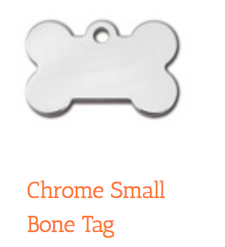 Polished Chrome, Bone, Small, ID Tag