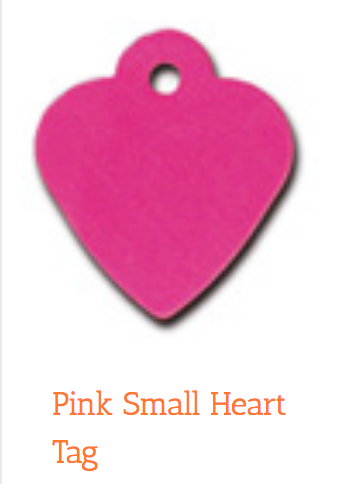 Heart, Pink, Small, ID Tag