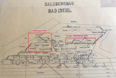 Niedergangsreviere 1738 und 1843, Archiv Salinen Austria