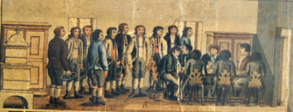 ischler salzberg_arbeitseinteilung_F.X.Kefer_1825_archiv salinen austria