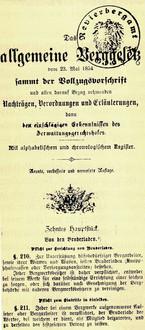 """Allgemeines Bergesetz 1854, aus """"100 Jahre Bruderladengesetz"""", Graz 1989"""