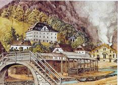 """Hallstätter Saline mit Amtshaus und Spitalsgebäude, 1880, Isidor Engl, aus """"Salz aus Österreich"""", 1986"""