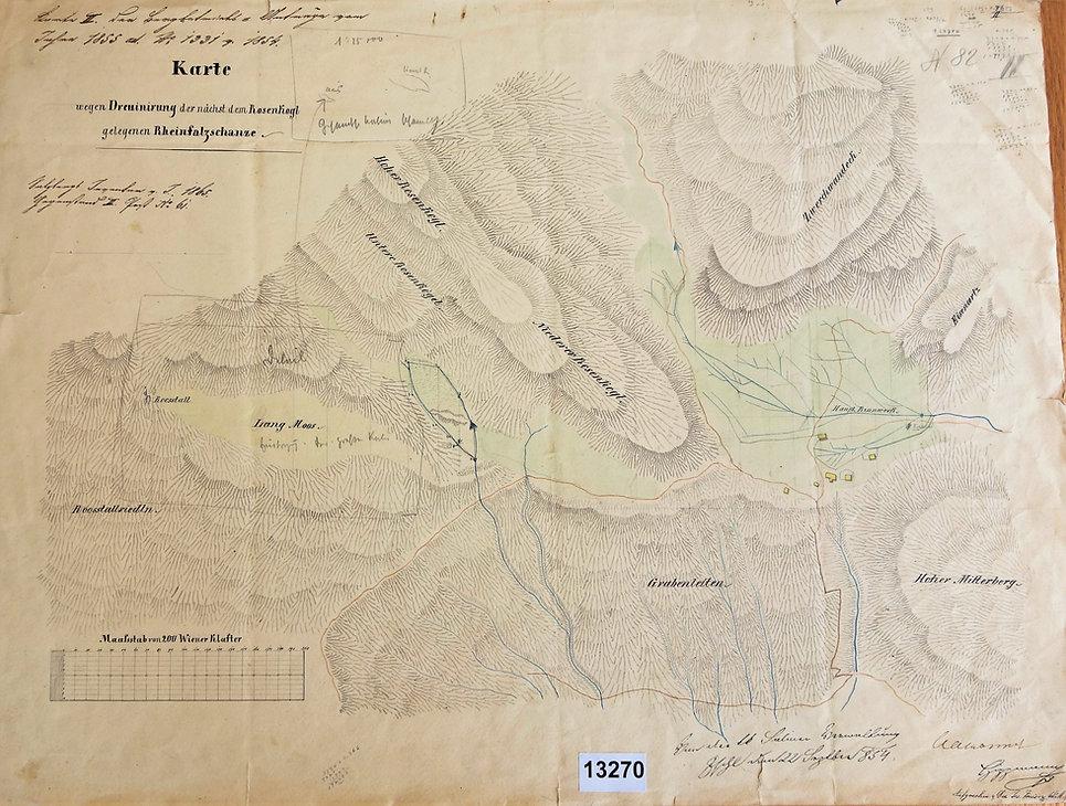 Plan Entwässerung Reinfalzschanze 1854, Archiv SBB Bad Ischlzberg_tagrevier_drainagierung