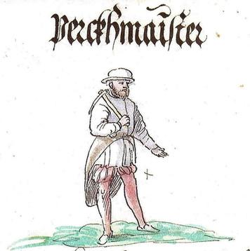 Bergmeister mit Bergeisen, Schwazer Bergbuch, 1556, Wikimedia