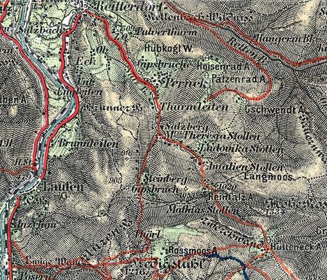 Gipsbergbaue Perneck und Steinberg, Karte des Salzkammergutes, 1872, Archiv Kranabitl