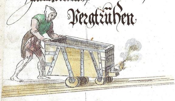 Truhenläufer mit Gugl und Arschleder, Schwazer Bergbuch, 1556, Wikimedia
