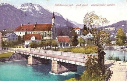 Evangelische Kirche mit Salinenschmiede, um 1922, Internet