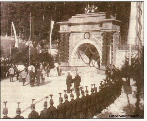 Kaiser Franz Josef –- Erbstollen, Eröffnungsfeier, 1898, aus Ischler Rundschau vom 17 07 2013