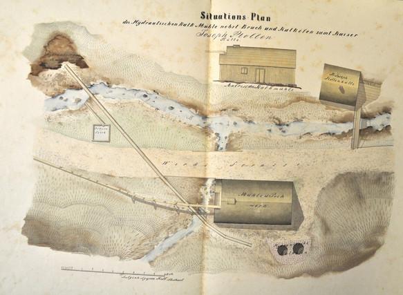 Zementwerk, Josefstollen, Situationsplan, um 1850