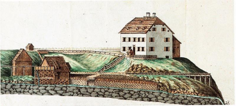 "Kaiserin Maria Theresia – Stollen, Knappenhaus, um 1865, aus Köberl ""Bad Ischl"""
