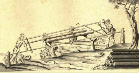 Bohren von Holzröhren, 1807, Archiv ÖSAG