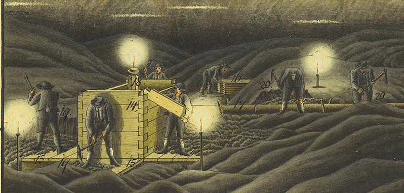 : Aufzimmern eines Ablasskastens, Kefer, 1836, Archiv IGM