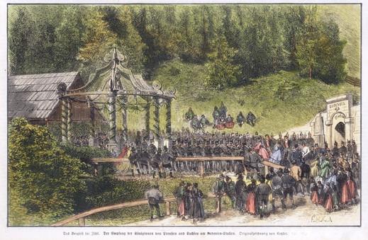 Bergfest, Besuch der Königinnen von Preußen und Sachsen, 1864, Archiv Salinen Austria