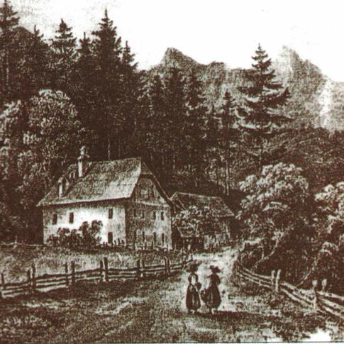 """Wirtshaus """"Zum Pfandl"""" – erste Pfandler Schulklasse, um 1910, Internet"""