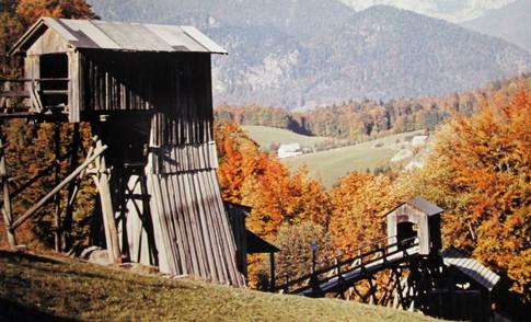Gipsbergbau Obereck, Brecher und Füllort, um 1960, Feichtinger