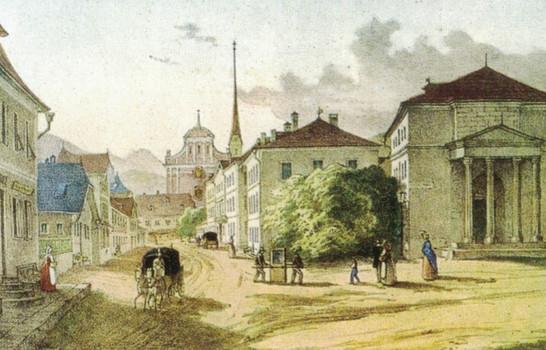 """Kurtheater, Wirerspital (Pfründnerhaus), Hotel Post, 1828, aus F. X. Mannert """"Ischl im Wandel der Zeit 2.0"""""""