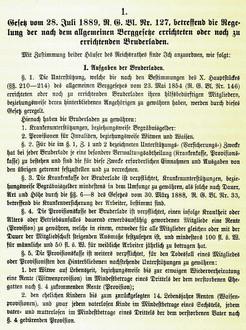 """Bruderladengesetz 1889, aus """"100 Jahre Bruderladengesetz"""", Graz 1989"""
