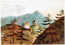 Stollen samt Berghaus und Bergkapelle, J. Steiner, 1820, Archiv Salinen Austria