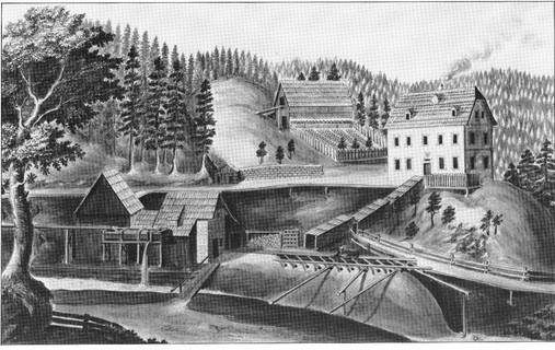 "Kaiserin Maria Theresia – Stollen, Berggebäude, M S Laimer, um 1800, aus Treffer ""Weisses Gold"""