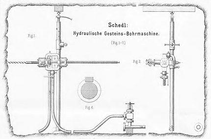 Hydraulische Drehbohrmaschine System Trautz, Carl Schedl, 1889