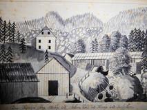 Stollenhütte samt Berghaus und Säge, um 1819, Archiv Salinen Austria
