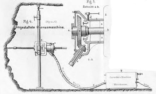 Elektrische Drehbohrmaschine, System Trautz, Umbau Harras, Carl Schedl, 1894