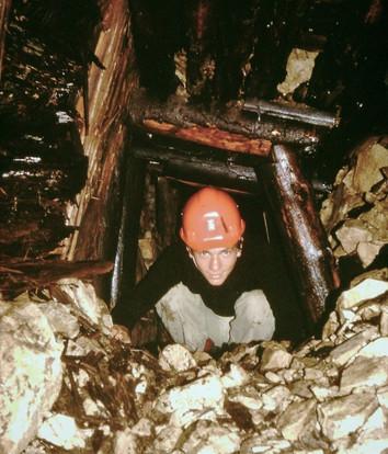 Eisenerz, unterer Stollen, Strecke vor Schacht, 1980, Archiv Kranabitl