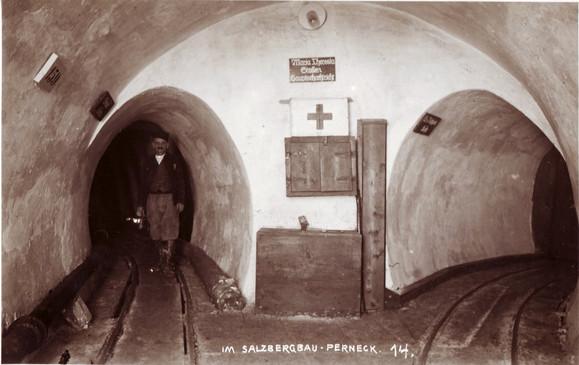 : Ausmauerung, Streckenkreuz Scharf- und Stampferkehr, Maria Theresia Stollen, um 1930
