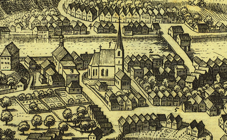 Ischler Kirche mit Siechenhaus, Merian, 1649, Internet