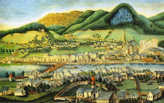 """Ansicht von Ischl, 1815, Johann Michael Edlinger, aus Herbert Köberl """"Bad Ischl"""""""