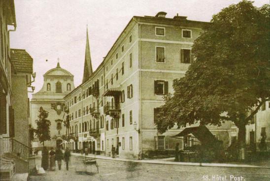 """Wirerspital (Pfründnerhaus), Hotel Post, 1889, aus F. X. Mannert """"Ischl im Wandel der Zeit 2.0"""""""