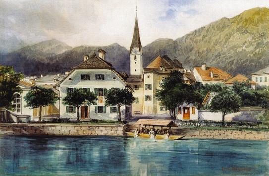 """Ansicht von Ischl, um 1910, Ferdinand Mühlbacher; aus Herbert Köberl """"Bad Ischl"""""""