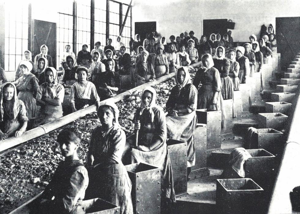 Erzsortieranlage Eisenerz_Klauberinnen, um 1920_aus 100 Jahre Bruderladengesetz_Graz 1989