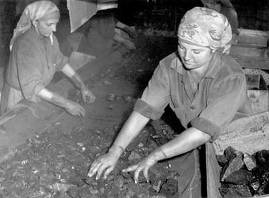 Klaubfrauen Kohlesortierung, Grünbach, um 1960, Internet